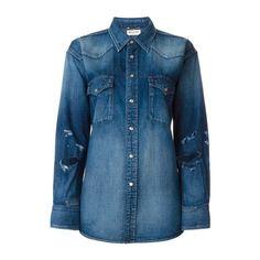 SAINT LAURENT Distressed Denim Shirt ($716) ❤ liked on Polyvore featuring tops, blue, snap shirt, blue collared shirt, longsleeve shirt, long sleeve shirts and yves saint laurent shirt