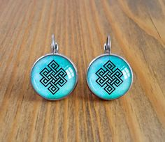 Endless knot dangle earrings, buddhist symbol picture earrings, karma symbol earrings, image cabochon earrings, dome celtic knot jewelry