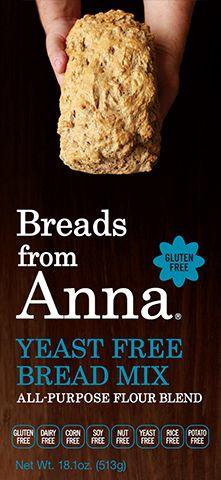 Breads From Anna - Yeast Free Bread Mix.  Gluten-Free. Dairy- Free. Corn-Free. Soy-Free. Nut-Free. Yeast-Free. Rice-Free. Potato-Free. GMO-Free.