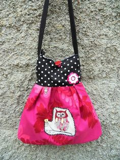Tasche Schultertasche Handtasche Eule Owl Applikat von Zellmann Fashion auf DaWanda.com