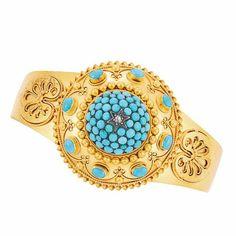 Antique Gold, Turquoise and Diamond Bangle Bracelet
