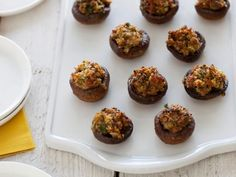 Get easy Thanksgiving appetizer recipes from Food Network, including deviled eggs, butternut squash soup and stuffed mushrooms.