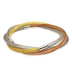 Tri-Color Gold Over Sterling Silver Slip-on Bangle Bracelet(width per band: 3.6mm) Sea of Diamonds. $85.00