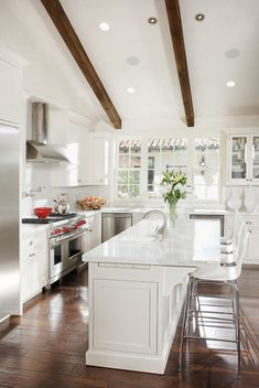 White Kitchen Design Ideas Pictures Remodel And Decor Page Beams On Vaulted Ceiling