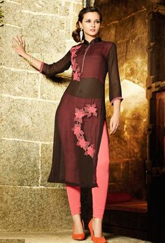 Shop readymade stylish black georgette kurti , freeshipping all over the world , Item code Indian Dresses, Indian Outfits, Look Legging, Diana, Elegant Outfit, Asian Fashion, Ethnic Fashion, Bollywood Fashion, Indian Wear