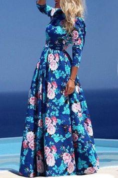 Bohemian Jewel Neck Floral Print Chiffon Dress For Women Vintage Dresses | RoseGal.com Mobile