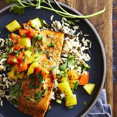 Fresh jalapeños give this quick and easy roasted salmon dish its kick; honey and balsamic vinegar give it a sweet finish. A nutty-tasting wild rice pilaf completes this healthy dinner that comes together in just 30 minutes. Wild Rice Pilaf, Lemon Garlic Pasta, Rice Pilaf Recipe, Cranberry Relish, Relish Recipes, Salmon Dishes, Salmon Salad, Roasted Salmon, Sweet And Spicy