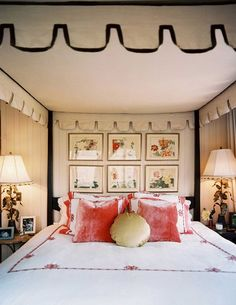 Bedroom Photos Bohemian Traditional Bedroom A grouping of floral prints hung below the canopy of a four-poster bed Details: Red Bohemian-Traditional Bedroom Room, Beautiful Bedrooms, Traditional Bedroom, Interior, Home, Home Bedroom, Bedroom Photos, Bedroom Inspirations, Interior Design
