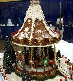 This lavish creation was the Grand Prize winner at the 2008 National Gingerbread House competition. Since winning, the carousel has traveled around the country, shaming cookie shacks wherever it goes.