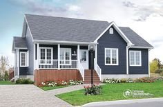 front 3 bedroom low-budget bungalow house plan, walk-in in master, fireplace, celing in family room - Avram Small Cottage Homes, Cottage House Plans, Cottage Living, Bungalow Floor Plans, House Floor Plans, House Paint Exterior, Exterior House Colors, Best House Plans, Small House Plans