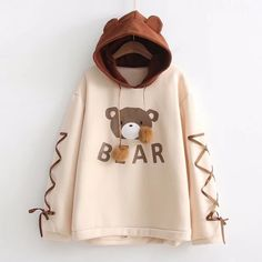 Shop Bear Print Lace Up Contrast Hoodie online. ROMWE offers Bear Print Lace Up Contrast Hoodie & more to fit your fashionable needs. Hoodie Sweatshirts, Printed Sweatshirts, Kawaii Clothes, Bear Hoodie, Mode Kpop, Mode Streetwear, Kawaii Fashion, Cute Casual Outfits, Casual Wear