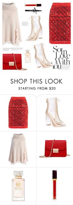 """""""Take my breath away"""" by nadialesa ❤ liked on Polyvore featuring Moschino, Chicwish, Tory Burch, Tom Ford, Christmas, red, transparent, anklebooties and poncho"""