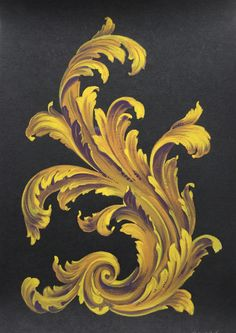 Study of Acanthus Leaf in Tempera in Versace colours Filagree Tattoo, Baroque Tattoo, Styrofoam Art, Plant Monster, Custom Paint Motorcycle, Paisley Art, Realistic Rose, Tattoo Illustration, Ornaments Design