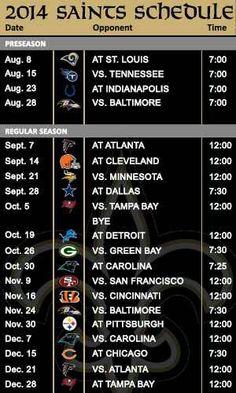 New Orleans Saints 2014 Schedule