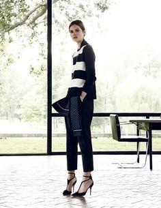 Caroline Brasch Nielsen in stripes & heels #style #fashion #workwear