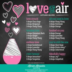 Love is in the Air - Diffuser recipes using Young Living essential oils Essential Oil Diffuser Humidifier, Essential Oil Diffuser Blends, Doterra Diffuser, Aromatherapy Humidifier, Doterra Essential Oils, Young Living Essential Oils, Yl Oils, Essential Oil Recipes For Valentine's Day, Doterra Oil