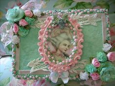 Framed,green,velvet,marie antoinette,shabby,cottage,french,altered art,treasure,box, 1 by stephanies cottage!, via Flickr