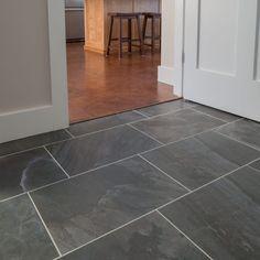 Grey Slate Floor Tiles, Grey Kitchen Floor, Dark Grey Kitchen, Black Tiles, Ceramic Floor Tiles, Dark Grey Tiles, Black Grout, Stone Kitchen, Stone Tile Flooring