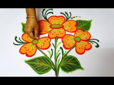 beautiful rangoli designs with 5x3 dots for beginners* simple kolam design* chukkala muggulu - YouTube