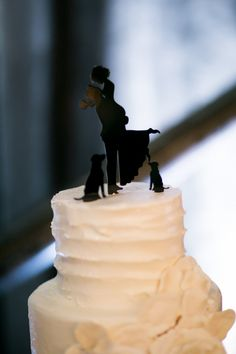 Dog lovers cake topper. View the full wedding here: http://thedailywedding.com/2016/06/13/classic-industrial-wedding-rachel-max/