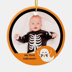 Shop Cute Boo Ghost Halloween Photo Ornament created by marlenedesigner. Personalize it with photos & text or purchase as is! Baby Ornaments, Photo Ornaments, Halloween Ornaments, Halloween Home Decor, Halloween Photos, Halloween House, My First Halloween, Cute Halloween, Halloween Festival