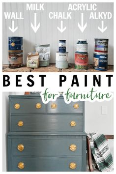 Wondering the best types of paint for furniture? This post has all the answers and compares many different types to give the pros and cons of each including chalk paint, milk paint, wall (latex) paint, acrylic paint and alkyd paint. Dark Furniture, Paint Furniture, Different Types Of Painting, Cool Paintings, Beautiful Interiors, Diy Painting, Repurposed, Diy Home Decor, Diy Projects
