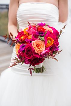"""Wedding Colors """"inspired by the colors of the sunset"""" - from the bride. Wedding Bouquet by MatthewRobbinsDesign.com - http://www.StyleMePretty.com/tri-state-weddings/2014/04/03/romantic-wedding-at-the-ritz-carlton-battery-park/ Lilian Haidar Photography - lilianhaidar.com"""