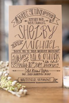 Banner Wedding Invitation Suite by JuneBrideLettering on Etsy
