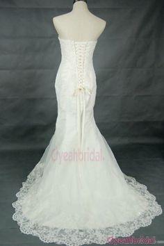Lace Beading Strapless Mermaid Brush Train Wedding Dress #wedding #dress