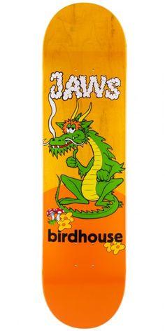"Birdhouse Jaws Dragon Skateboard Deck - Yellow Stain - 8.0"""