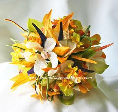 tropical arrangeements for wedding archs | Wedding Flowers Design Ideas: tropical wedding boquets and flowers