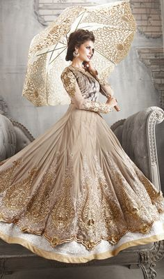 Beige Embroidered Net Floor Length Anarkali Suit Price: Usa Dollar $192, British UK Pound £113, Euro141, Canada CA$208 , Indian Rs10368.