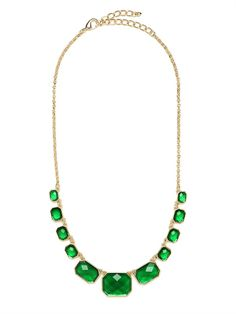 Theres a reason Elizabeth Taylor loved her emeralds — the gem is absolutely mesmerizing and dazzling. And with this stunning necklace, which features a whole strand of emerald-like beauties, you wont even have to break the bank.