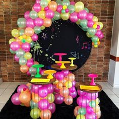 Balloon Decorations, Birthday Decorations, Birthday Party Themes, Neon Party, Candy Party, Power Ranger Party, Neon Birthday, Bday Girl, Baby Shower Balloons