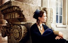 Wallpaper painting, art, edson campos, girl, woman, pensive, sitting, window