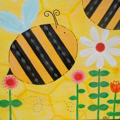 Humble Bumble Kids Canvas, Canvas Ideas, Square 1 Art, 3rd Grade Art Lesson, Spring Art Projects, Insect Art, Kindergarten Art, Arts Ed, Whimsical Art