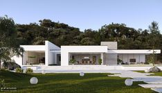 Architecture Discover Minimalist Villa Minimalist Villa on Behance Minimalist House Design, Minimalist Architecture, Modern Architecture House, Residential Architecture, Architecture Design, Architecture Visualization, Flat Roof House, Facade House, Bungalow House Design