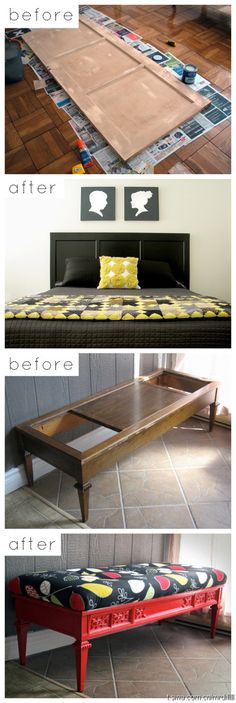 love the coffee table made into bench idea.