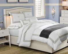 Percale Border Bedding | Williams-Sonoma - White/Gray