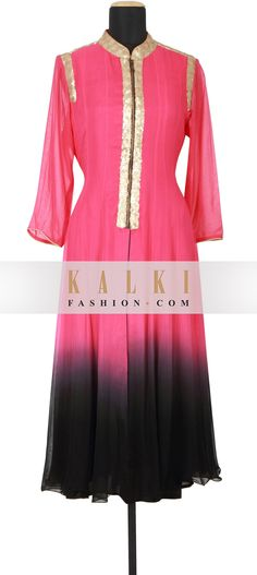 Buy Online from the link below. We ship worldwide (Free Shipping over US$100) http://www.kalkifashion.com/pink-and-black-kurti-featured-in-georgette-only-on-kalki.html