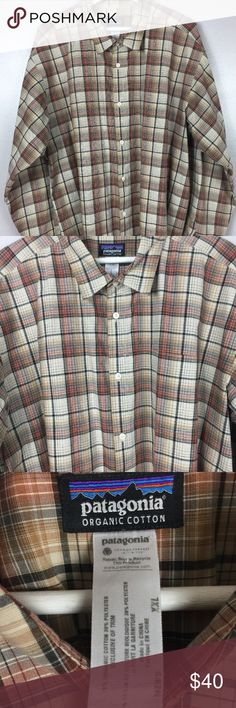 """PATAGONIA  Button up Shirt PATAGONIA Mens XXL Brown plaid Button up Long Sleeve Shirt Organic Cotton  pit to pit 27"""" length from shoulder  31""""  excellent pre owned condition, smoke free home Patagonia Shirts Casual Button Down Shirts"""