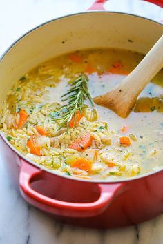 Lemon Chicken Orzo Soup - Chockfull of hearty veggies and tender chicken in a refreshing lemony broth - its pure comfort in a bowl! More Orzo Soup Lemon Chicken Orzo Soup Lemon Chicken Orzo Soup, Rotisserie Chicken Soup, Hearty Chicken Soup, Chicken Meatball Soup, Chicken Broth Soup, Chicken Veggie Soup, Pasta Soup, Cooking Recipes, Healthy Recipes