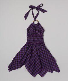 Another great find on #zulily! Purple Check Handkerchief Dress - Toddler & Girls #zulilyfinds