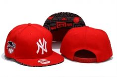Casquette NY New York Yankees MLB Snapback Rouge Blanc Logo : Casquette Pas Cher