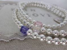Silver Plated Bead Bracelet with Tiny Swarovski Crystal