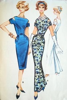 1950s Dramatic Evening Dress Gown Pattern Front Slim Low Flare Back, Bateau Neckline, Beautifully fitted bodice with Cut Out Sleeves, Totall...
