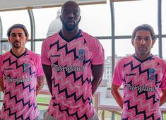 Forward Madison FC revealed a new pink flamingo-themed alternate jersey during a fan event at Fields Auto Madison. The kit - which will be used primarily Soccer Kits, Football Kits, Football Soccer, Sports Uniforms, Pink Flamingos, Sport Outfits, Jersey Designs, Men Casual, Sports Apparel