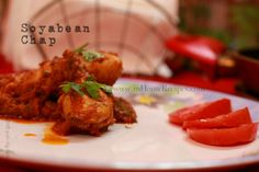 Soyabean Chap is primarily a North Indian delight and is considered equivalent of a non-vegetarian dish. This recipe is for making Soyabean chap curry. Curry Ingredients, Tomato Gravy, Red Chili Powder, Coriander Powder, Garam Masala, Curry Recipes, Food Videos, Side Dishes, Protein