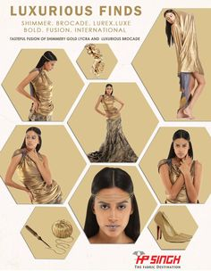 Fusion of shimmer gold lycra & luxurious brocade fabrics. #Luxurious #shimmer #brocade #bold #fusion #international — at HP SINGH Agencies.