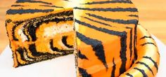 TigerCakeWithPieceCutOut   How to Make a Tiger Cake